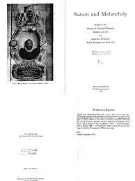 Raymond Klibansky Erwin Panofsky Fritz Saxl Saturn and.
