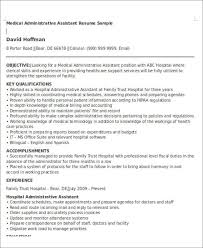 Medical Administrative Assistant Resume Www Sailafrica Org