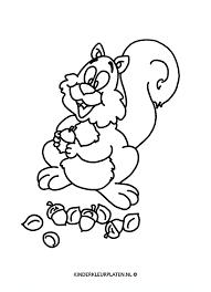 Kleurplaat Eekhoorn Hamsteren Eikel Dieren