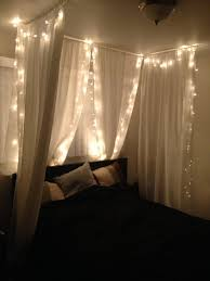 white christmas lights in bedroom. Exellent Lights DIY Bedroom Canopy White Sheer Fabric From Joanneu0027s And White Christmas  Lights To Lights In Bedroom L