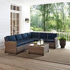 crosley bradenton 5 piece outdoor wicker sectional conversation set hayneedle crosley patio furniture e95