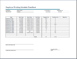 Employee Working Schedule Time Sheet Word Excel Templates
