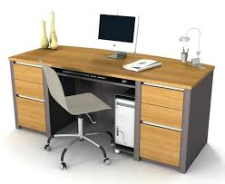 desk with side drawers white