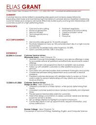 Customer Service Advisor resume example