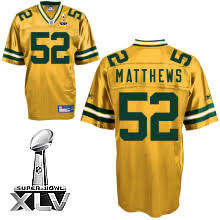 Stitched Yellow Xlv Jersey Cheapest With Sale Bowl Matthews Packers 52 Free Nfl Shipping Clay Super