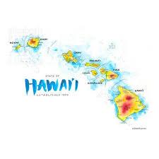 hawaii map watercolor ilration hi