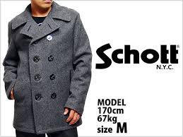 schott n y c nyc wool blend fitted peacoat p coat jacket grey shot wool melton p coat