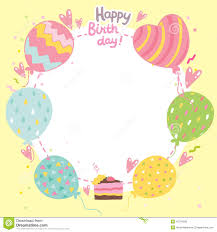 Happy Birthday Card Printable Template Happy Birthday Card Background With Balloons Stock Vector