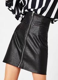 women s high waist solid color pu leather skirt