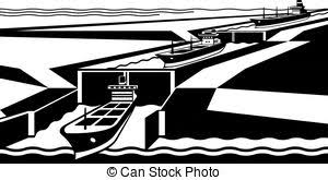 canal locks clipart. cargo ships pass canal - vector illustration locks clipart t