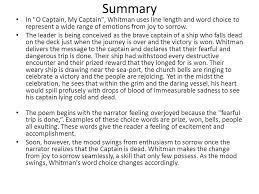 o captain my captain walt whitman ppt video online  summary in o captain my captain whitman uses line length and word choice to