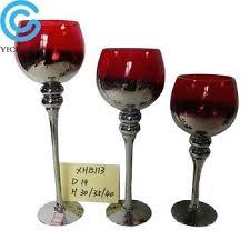 top long stemmed red glass hurricane candle holder mercury pillar holders