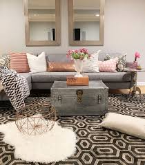 agreeable awesome chic living room black white patterned rug grey chest table