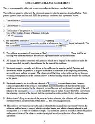 Sample Sublease Agreement Free Colorado Sublease Agreement Pdf Template