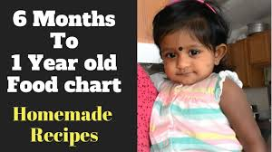 Food Chart For 6 Months Baby To 1 Year Old Homemade Indian