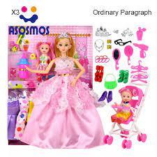 ASM Bộ Búp Bê Barbie 58 Chiếc Với 6 Chiếc Váy Và 1 Chiếc Bé Búp Bê Vải-Nhà  Chơi Công Chúa Có Thể Thay Thế Ghép Nối Đầu Đồ Chơi Kit Cho