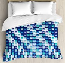 blue duvet cover set retro style vintage modern design with mosaics and geometrical squares decorative bedding set with pillow shams pale blue white dark