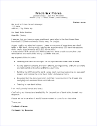 Cover Letter For A Teller Job Bank Teller Cover Letter Sample