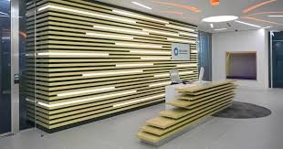 materials poplar wood. Plexwood® RBC Investor Services Bank Relief Wall With Incorporated Lights And Reception Desk In Poplar Materials Wood
