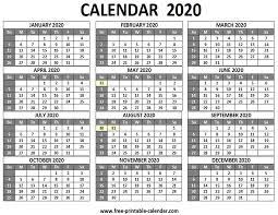 12 Months 2020 Calendar Printable 2020 Calendar Free Printable Calendar Com