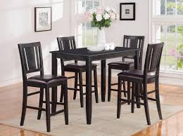 dining room marble top counter height table with black tall wooden chairs combined white painted wall well and varnished granite round glass bar leaf