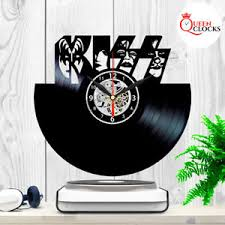 Record Gifts Kiss Wall Clock Rock Band Vinyl Record Black Fan Art Best Gifts Home