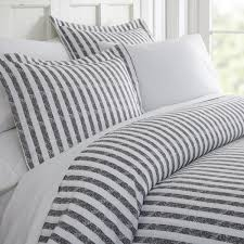 becky cameron rugged stripes patterned performance gray queen 3 piece duvet cover set