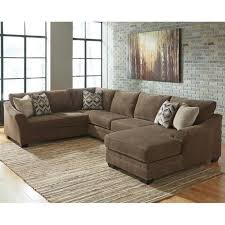 brown chenille chaise sectional