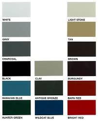 Taylor Metal Products Color Chart Colors