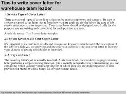 3 tips to write cover letter for warehouse team leader team leader cover letter sample