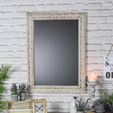 rustic wooden wall mirror with heart print