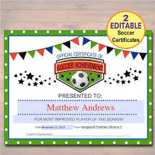 soccer awards templates editable soccer award certificates instant download team