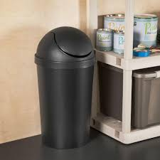 sterilite  gal black round swing top trash can  the