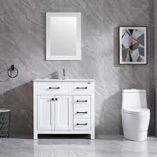 Amazon Com Walsport Bathroom Vanity With Sink 36 White Modern Wood Cabinet Basin Vessel Sink Set With Mirror Chrome Faucet P Trap Kitchen Dining