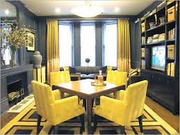 stupendous dining room decor ideas using yellow leather dining chair and square brown wood dining table on patterned rug bine open wood shelves plus