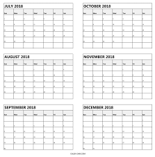 month template 2018 july to december calendar 2018 free printable 6 month template
