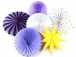 6pcs set purple tissue paper fans party wedding birthday hanging fiesta paper fan decorations party
