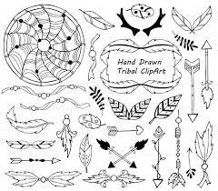 Dream Catcher Outline Hand Drawn Tribal Clipart Outline art Dream catcher arrows 24