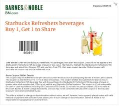 07 07 2013 barnes and noble bogo free starbucks refreshers printable coupon