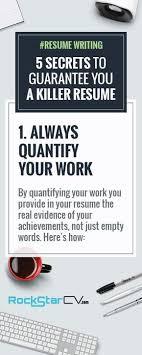Resume Writing 5 Secrets To Guarantee You A Killer Resume Резюме