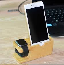 bamboo wood charging stand docking station holder phone docking cradle and watch bracket charger stand for