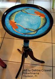 tropical painted furniture. hand painted by artist mermaid table plant stand keywords furniture tropical d