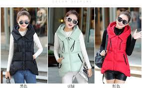 <b>Autumn Winter Women</b> Cotton <b>Vest</b> Coats New Slim Warm Hooded ...