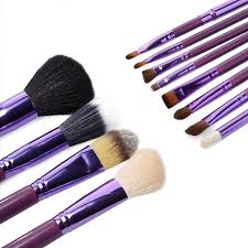 whole sell new purple professional makeup brush set 12 pcs kit w leather cup holder case kit in makeup brushes tools from beauty health on