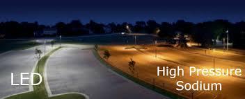 parking lot lighting led vs high sodium pressure