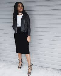 white t shirt black leather jacket black velvet midi skirt black lace