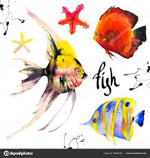 set of tropical marine fish watercolor ilration with hand drawn aquarium exotic fish on white