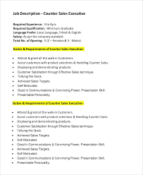 Sales Executive Job Description Sample Sales Job Description 10 Examples In Pdf Word