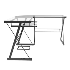 ryan rove madison 3 piece corner l shaped computer desk in black inside madison clear glass