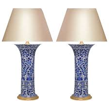 blue and white lamps. Pair Of Blue And White Porcelain Lamps With Gilt Brass Bases For Sale